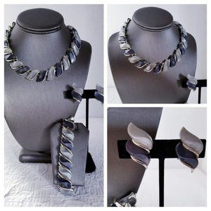 50's Grey & Black Thermoset Necklace/Earrings Set